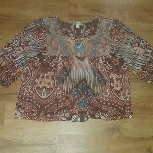 Multicolored 3/4 sleeve tunic style top
